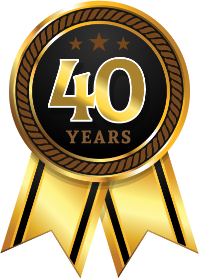 Ribbon commemorating 40 year work anniversary