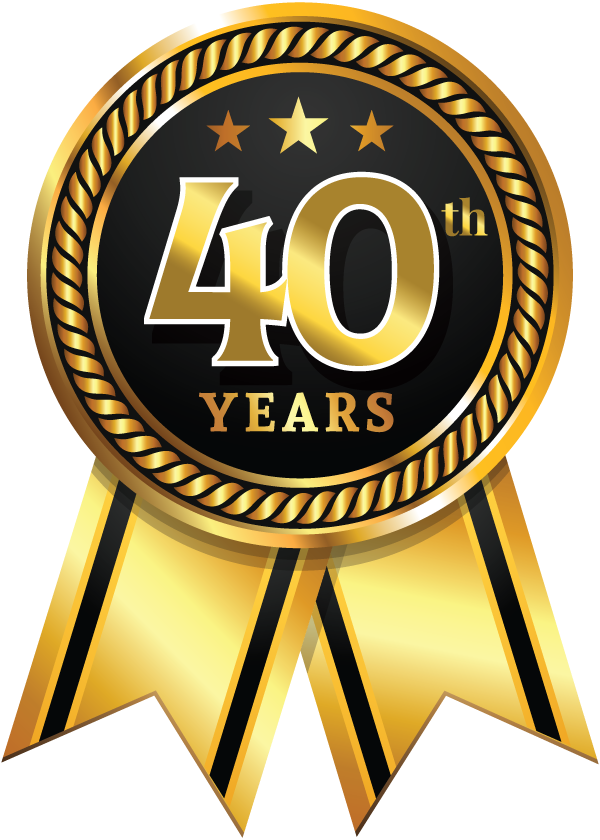 Ribbon commemorating 40 year work anniversary